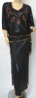 エジプト製キラキラサイディドレス☆ドロップモチーフ☆シックブラック