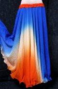 グラデーションダブルシフォンスカート☆ブルー&ホワイト&オレンジ☆