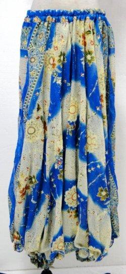画像1: オリエンタルシフォンパンツスカート☆ブルー☆