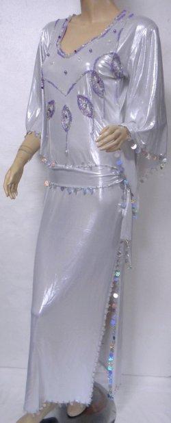 画像2: エジプト製キラキラサイディドレス☆ドロップモチーフ☆ラメホワイト