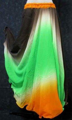 画像1: グラデーションダブルシフォンスカート☆ブラック&グリーン&オレンジ☆