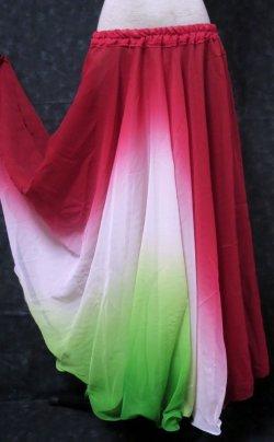 画像1: グラデーションダブルシフォンスカート☆レッド&ホワイト&グリーン☆