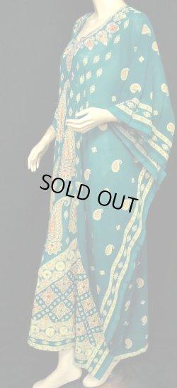 画像2: エジプト製カフタンハリジドレス☆ピーコックグリーン