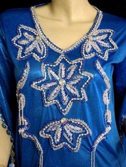 画像2: エジプト製サイディドレス☆スターフラワー☆ロイヤルブルー