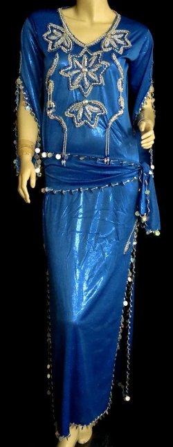 画像1: エジプト製サイディドレス☆スターフラワー☆ロイヤルブルー