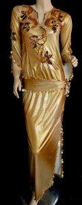 エジプト製サイディドレス☆アラベスク☆ゴールドブラウン